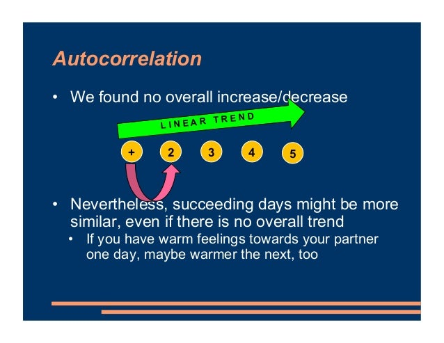 Autocorrelation • We found no overall increase/decrease • Nevertheless, succeeding days might be more similar, even if the...