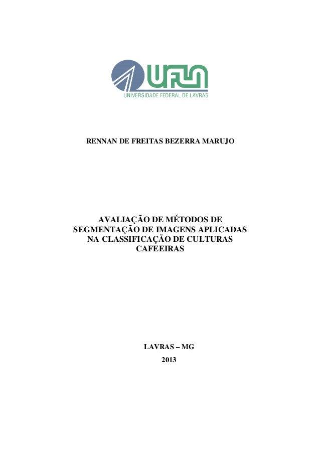 RENNAN DE FREITAS BEZERRA MARUJO AVALIAÇÃO DE MÉTODOS DE SEGMENTAÇÃO DE IMAGENS APLICADAS NA CLASSIFICAÇÃO DE CULTURAS CAF...