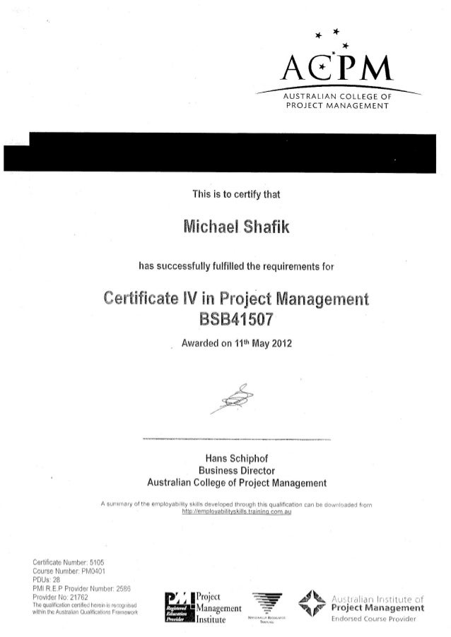 Cert Iv In Project Management