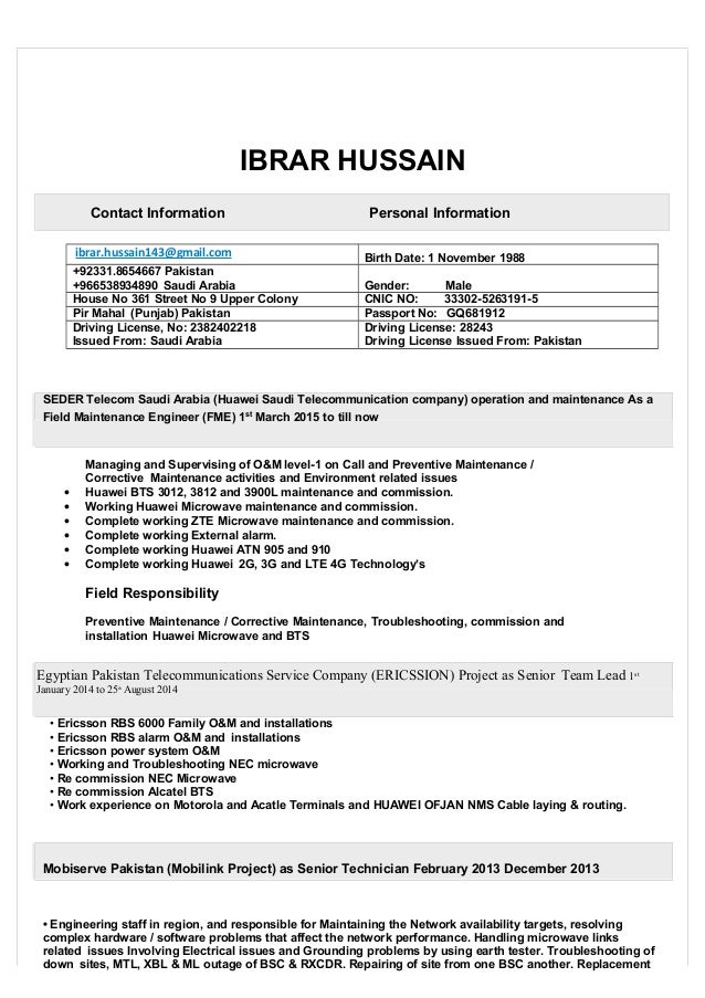 IBRAR HUSSAIN Contact Information Personal Information ibrar.hussain143@gmail.com Birth Date: 1 November 1988 +92331.86546...