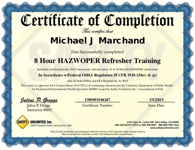hazwoper 8hr refresher