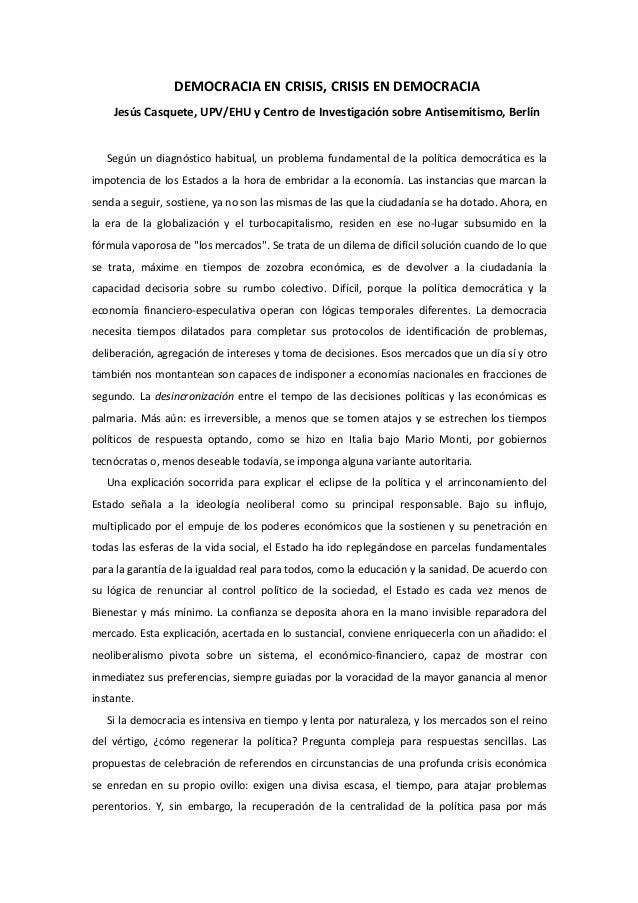 DEMOCRACIA  EN  CRISIS,  CRISIS  EN  DEMOCRACIA   Jesús  Casquete,  UPV/EHU  y  Centro  de  Invest...