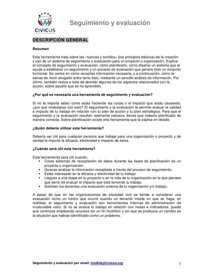 Seguimiento y evaluaciónDESCRIPCIÓN GENERALResumenEsta herramienta trata sobre las «tuercas y tornillos» (los principios b...