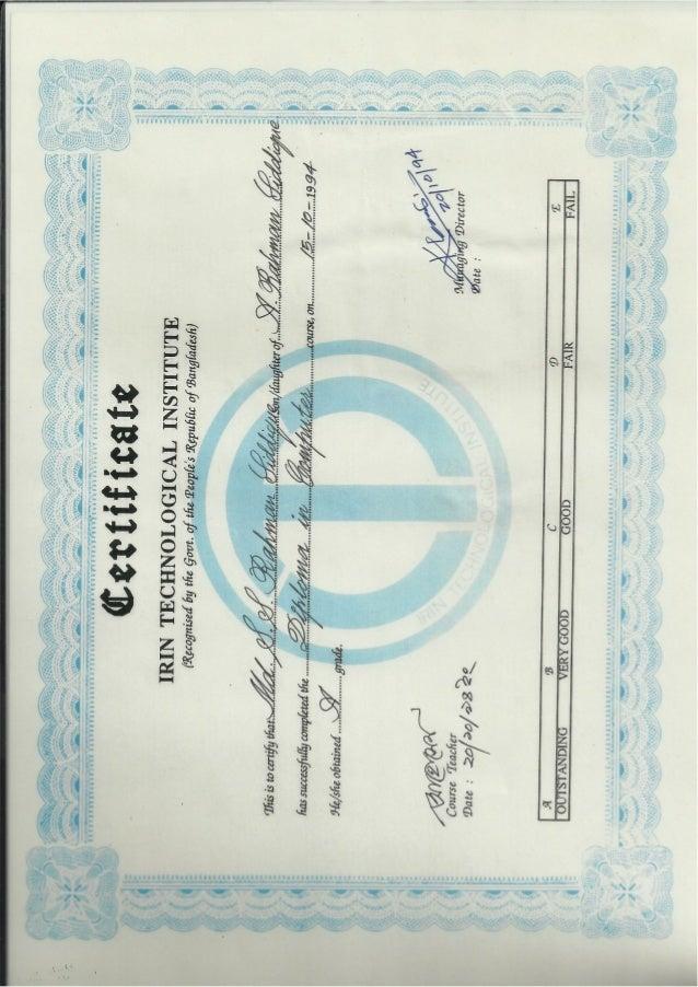 Shibly Sadiquer Rahman Shiddique Certificat & Expriences Letter