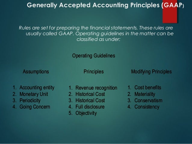 """generally accepted accounting principles and short term  generally accepted accounting principles september 2, 2013 nur/571 generally accepted accounting principles (gaap) is the term """"used to describe the body of and requirements that shape the preparation of the four primary financial statements (cleverley & cameron, 2007)"""" these statements include the balance sheet, the statement of ."""