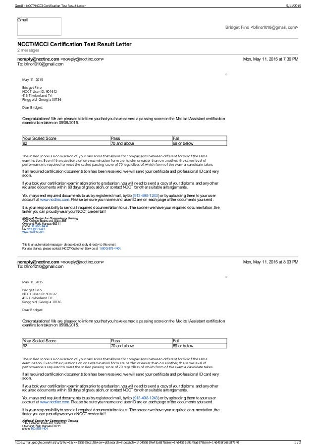 Gmail Ncct Mcci Certification Test Result Letter
