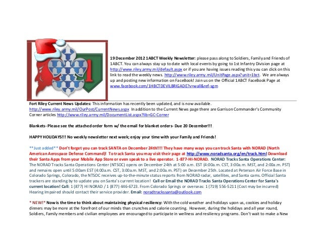 19 December 2012 1ABCT Weekly Newsletter: please pass along to Soldiers, Family and Friends of                            ...