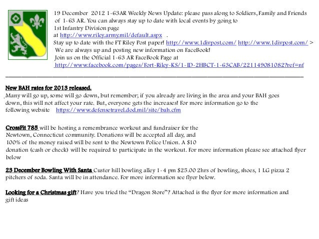 19 December 2012 1-63AR Weekly News Update: please pass along to Soldiers, Family and Friends                    of 1-63 A...