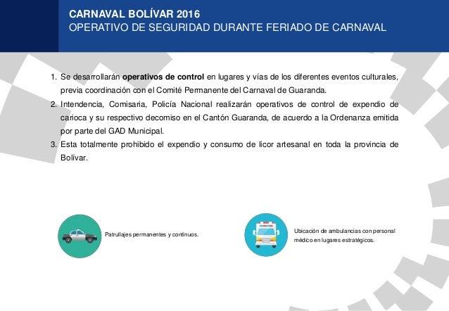 CARNAVAL BOLÍVAR 2016 OPERATIVO DE SEGURIDAD DURANTE FERIADO DE CARNAVAL Patrullajes permanentes y continuos. 1. Se desarr...