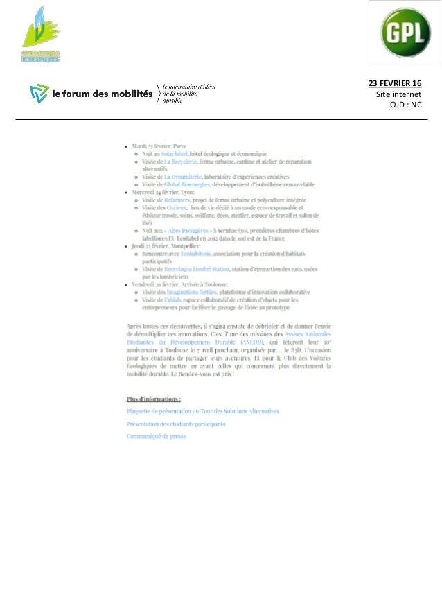 24 FEVRIER 16 Site internet OJD : 135 000 VU/mois