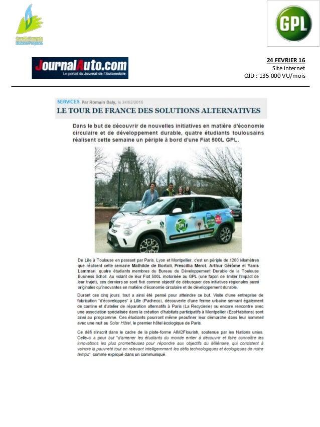 24 FEVRIER 16 Site internet OJD : NC LE JT - 18H30 Bertrand Frachon, Leïla Kessi Durée : 6 mn Des étudiants de Toulouse en...