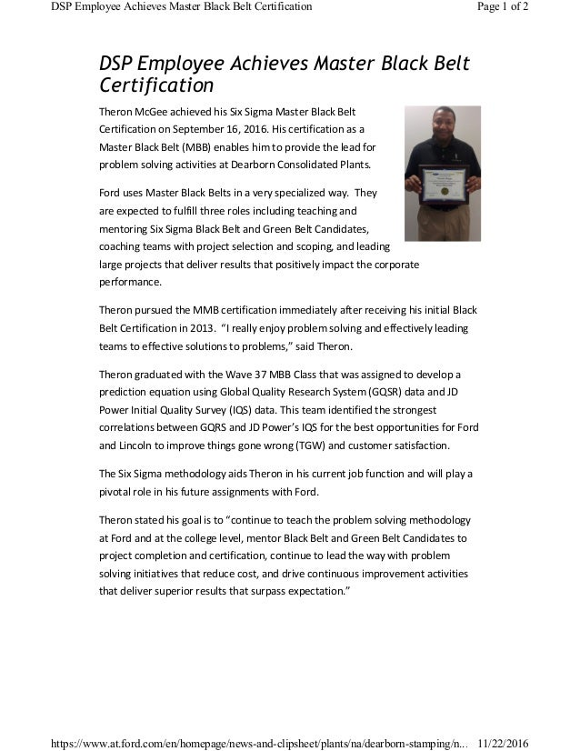 Theron Mcgee Mbb Certification Article