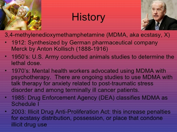 A history of mdma or ecstasy