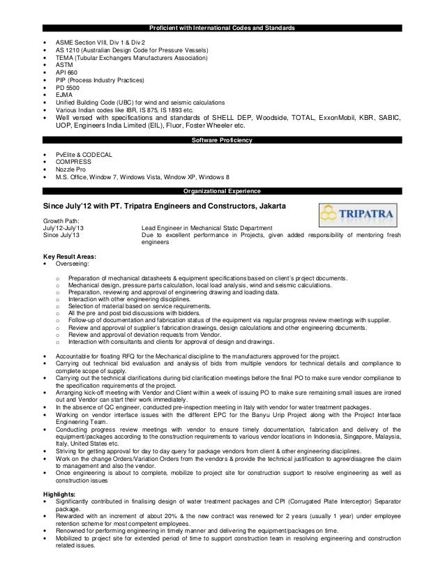 resume lead mechanical engineer