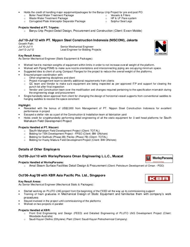 resume lead mechanical engineer static equipment and package units