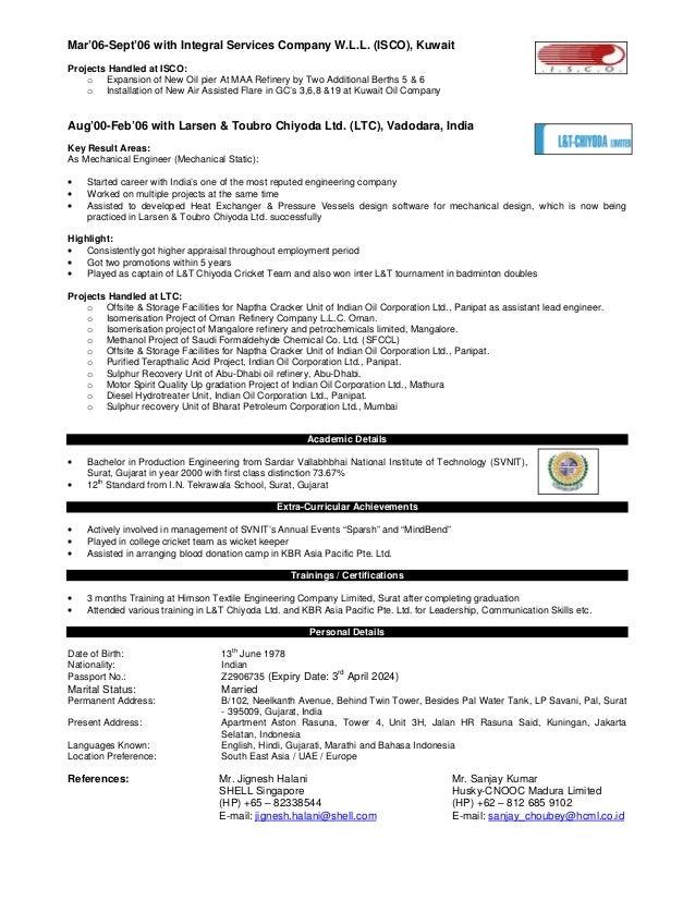 Static Equipment Engineer Sample Resume] Rotating Equipment .