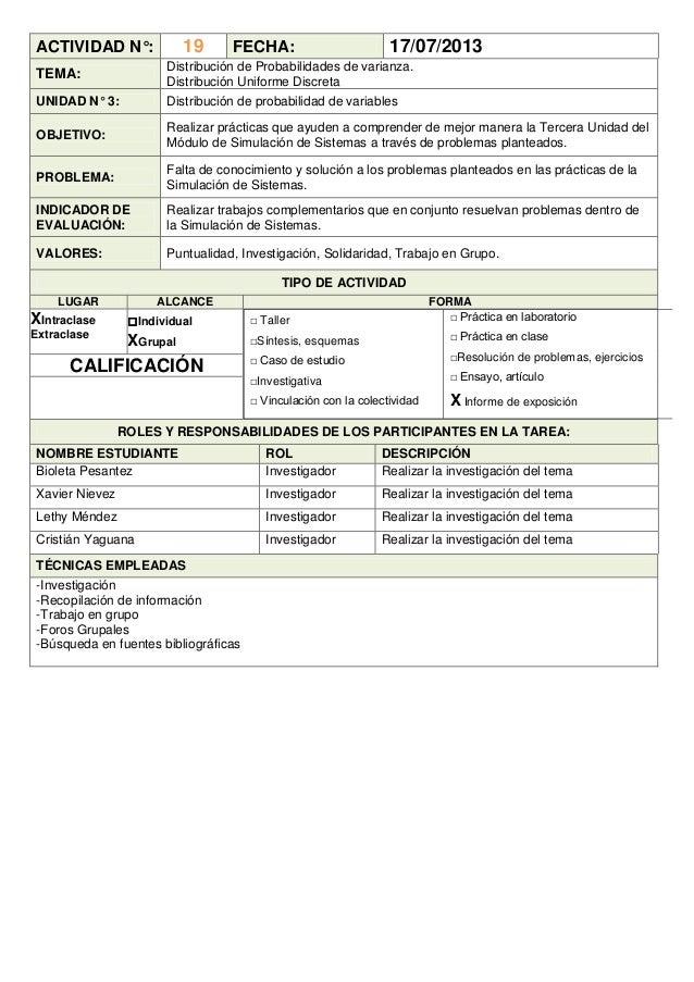 ACTIVIDAD N°: 19 FECHA: 17/07/2013 TEMA: Distribución de Probabilidades de varianza. Distribución Uniforme Discreta UNIDAD...