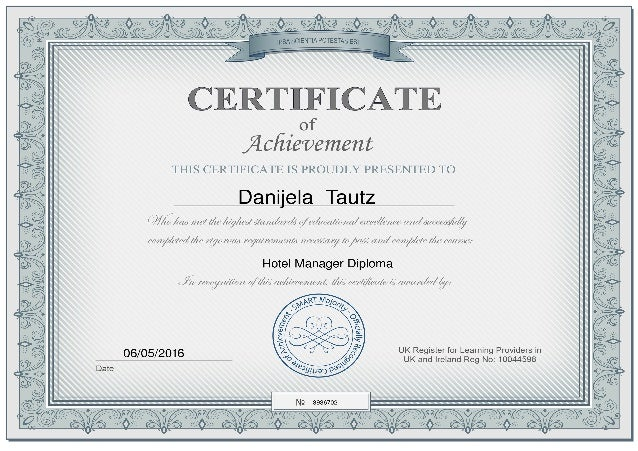 hotel manager diploma certificate hotel manager diploma
