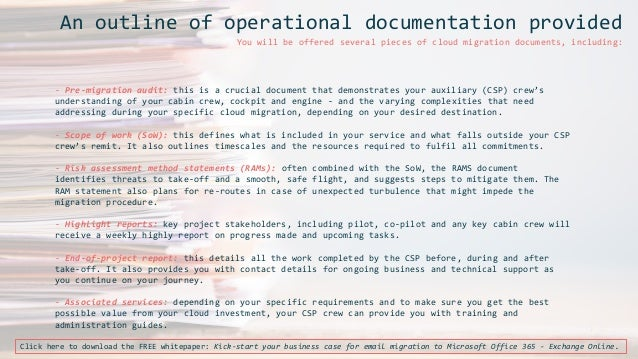 Flight manual for email migration to Office 365 Exchange Online