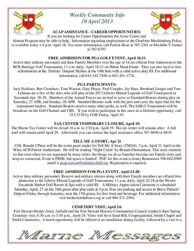 Weekly Community Info                                          19 April 2013                            ACAP ASSISTANCE - ...