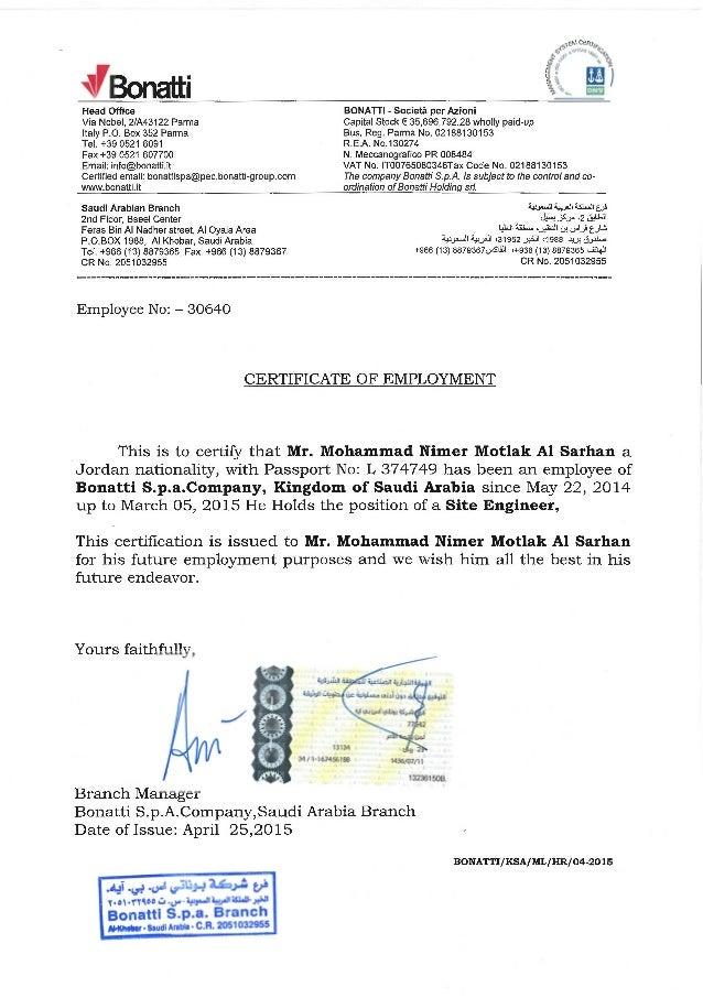 Experience Certificate Bonatti