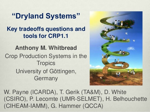 """""""Dryland Systems"""" Key tradeoffs questions and       tools for CRP1.1   Anthony M. WhitbreadCrop Production Systems in the ..."""
