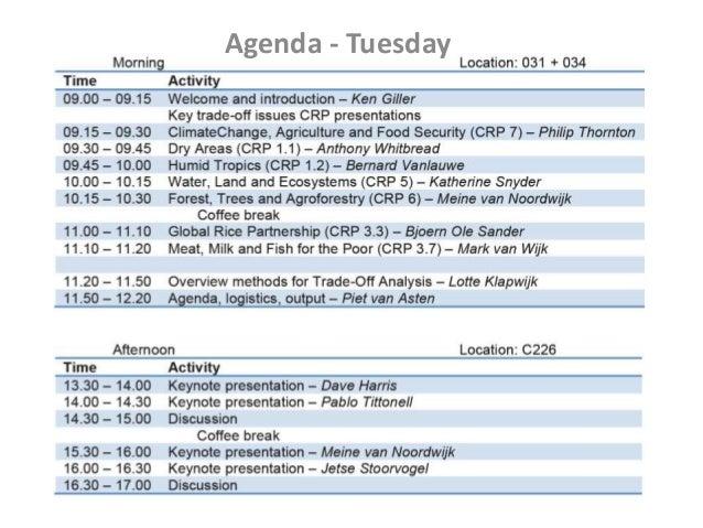 Agenda - Tuesday