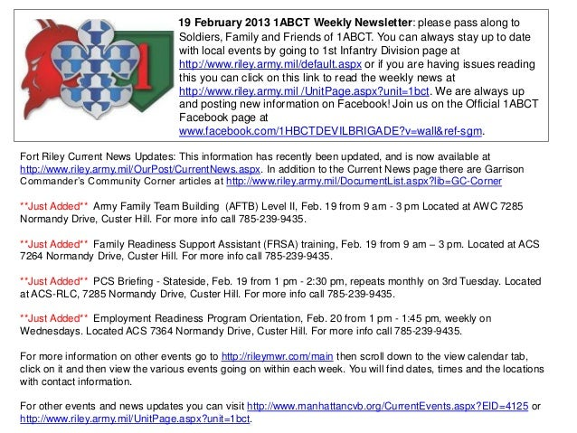 19 February 2013 1ABCT Weekly Newsletter: please pass along to                                   Soldiers, Family and Frie...