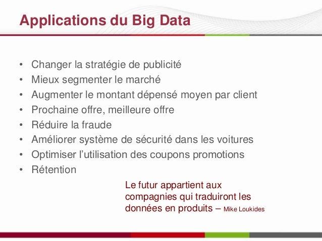 Applications du Big Data • • • • • • • •  Changer la stratégie de publicité Mieux segmenter le marché Augmenter le montant...