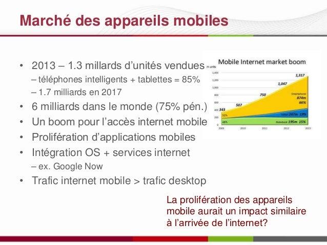 Marché des appareils mobiles • 2013 – 1.3 millards d'unités vendues – téléphones intelligents + tablettes = 85% – 1.7 mill...