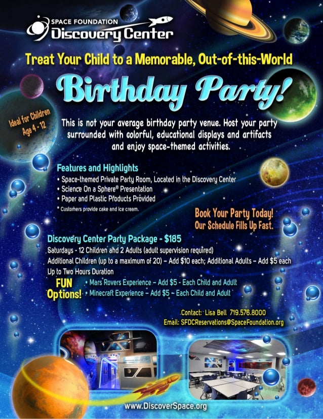 Birthday Party at the Space Foundation Discovery Center