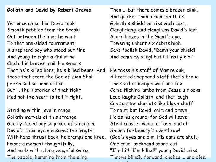 Goliath and David by Robert Graves Yet once an earlier David took  Smooth pebbles from the brook:  Out between the lines h...