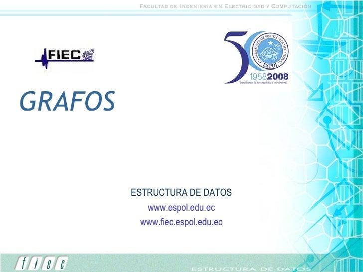 GRAFOS ESTRUCTURA DE DATOS www.espol.edu.ec www.fiec.espol.edu.ec