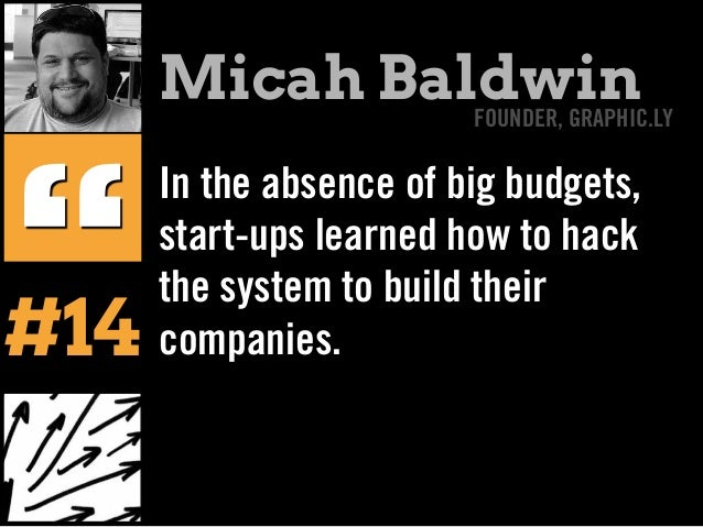 """In the absence of big budgets, start-ups learned how to hack the system to build their companies. """" Micah BaldwinFOUNDER, ..."""