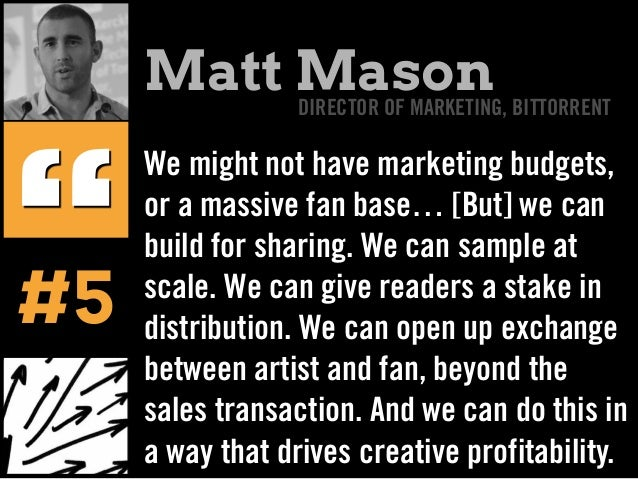 We might not have marketing budgets, or a massive fan base… [But] we can build for sharing. We can sample at scale. We can...