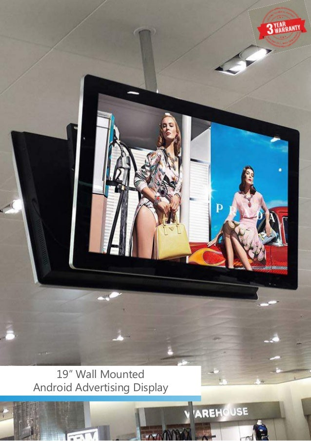 """19"""" Wall Mounted Android Advertising Display"""
