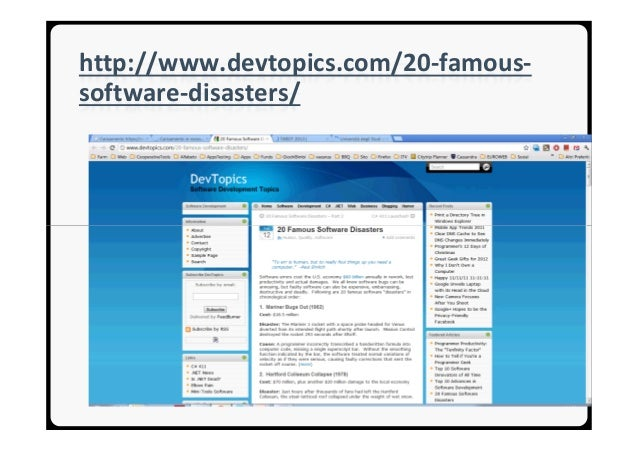 20 famous software disasters Introduction to Software Testing