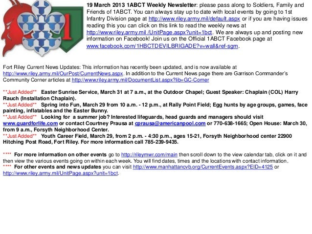 19 March 2013 1ABCT Weekly Newsletter: please pass along to Soldiers, Family and                                   Friends...