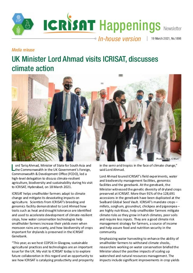 Newsletter Happenings In-house version 19 March 2021, No.1898 Lord Tariq Ahmad, Minister of State for South Asia and the C...