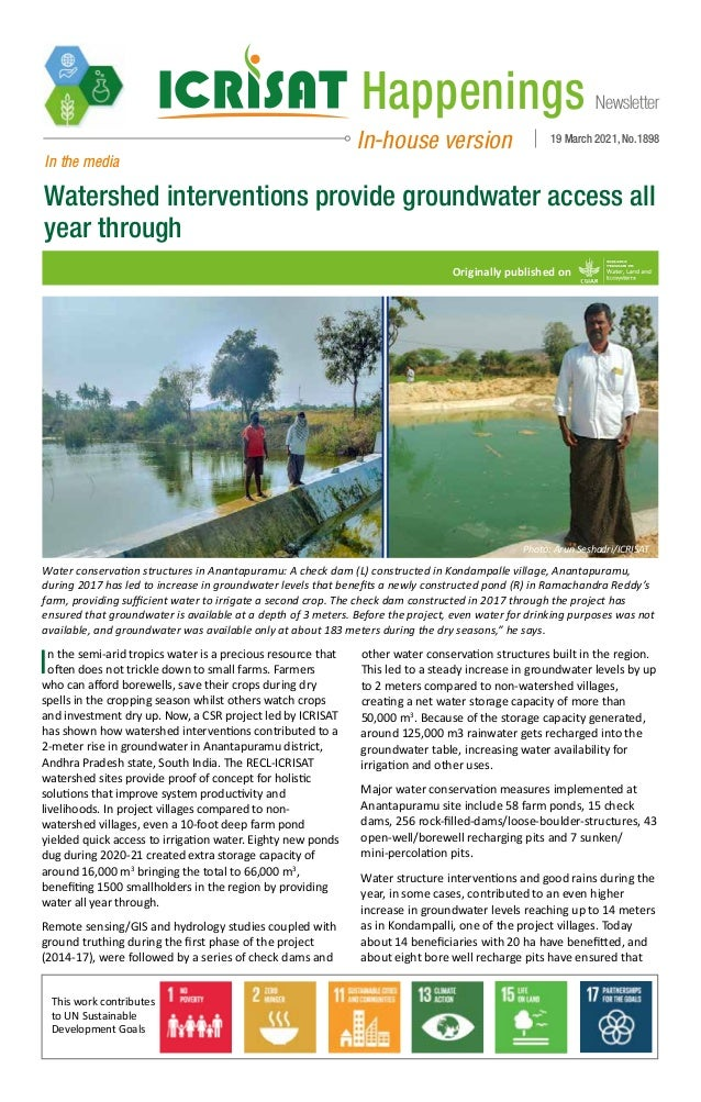 Newsletter Happenings In-house version 19 March 2021, No.1898 In the media Watershed interventions provide groundwater acc...