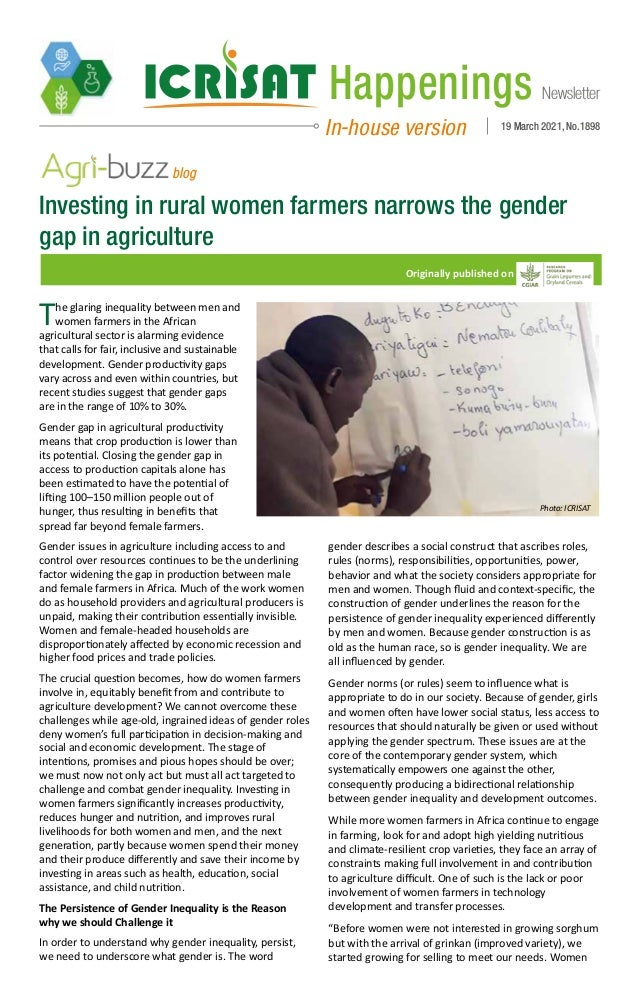 Newsletter Happenings In-house version 19 March 2021, No.1898 Investing in rural women farmers narrows the gender gap in a...