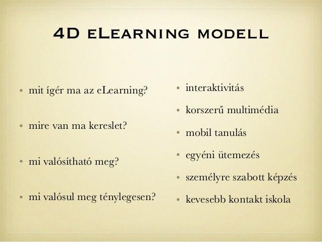 4D eLearning modell• interaktivitás• korszerű multimédia• mobil tanulás• egyéni ütemezés• személyre szabott képzés• kevese...