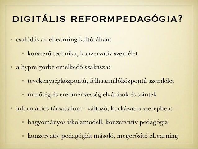 digitális reformpedagógia?• csalódás az eLearning kultúrában:• korszerű technika, konzervatív személet• a hypre görbe emel...