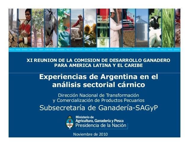 XI REUNION DE LA COMISION DE DESARROLLO GANADERO PARA AMERICA LATINA Y EL CARIBE Experiencias de Argentina en elExperienci...