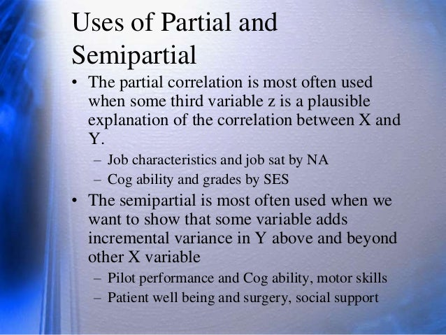 partial and semi partial correlation