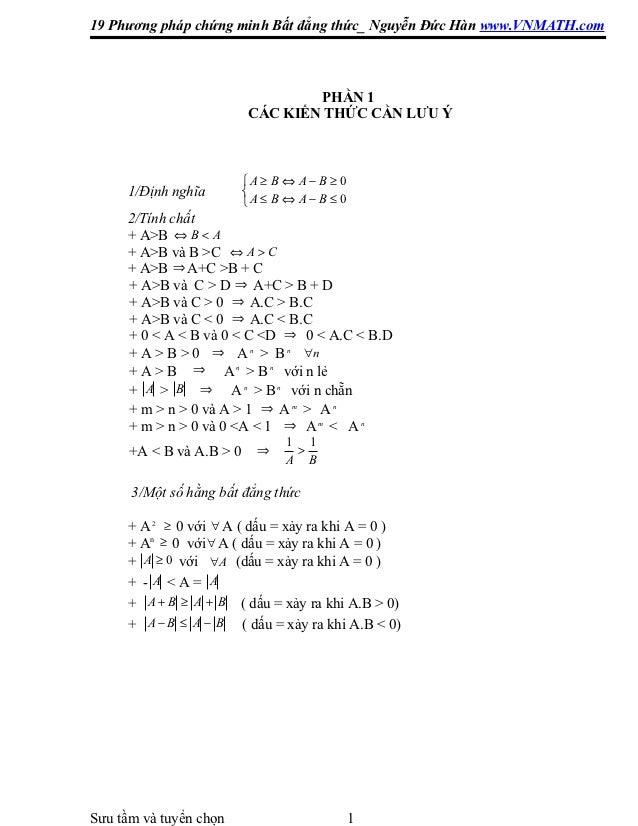 19 Phương pháp chứng minh Bất đẳng thức_ Nguyễn Đức Hàn www.VNMATH.com                                   PHẦN 1           ...