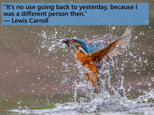 """""""It's no use going back to yesterday, because I was a different person then."""" ― Lewis Carroll"""
