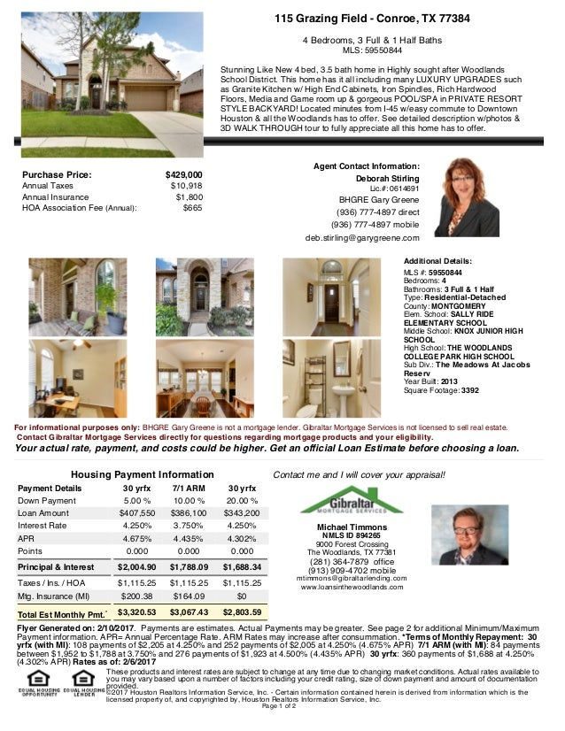Gibraltar Mortgage Open House Flyers By Michael Timmons