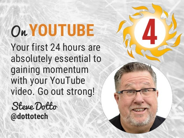 On YOUTUBE Your first 24 hours are absolutely essential to gaining momentum with your YouTube video. Go out strong! Steve ...