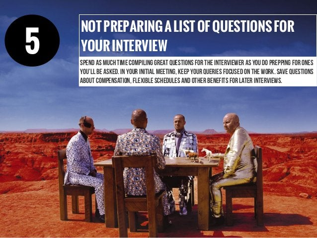 NOTPREPARINGALISTOFQUESTIONSFOR YOURINTERVIEW spend as much time compiling great questions for the interviewer as you do p...